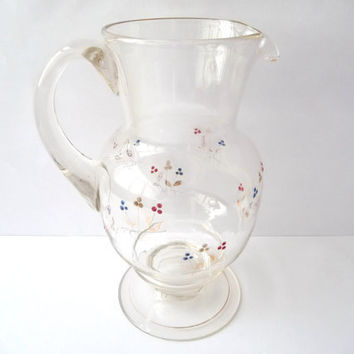 Vintage Glass Cup Jar with Flowers and golden edges