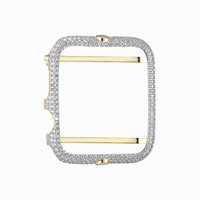 Sterling Silver Apple Watch Bezel 42mm Series 1 14k Gold Finish Iced Out Simulated Diamonds