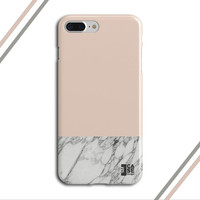 Pale Dogwood x Grey Marble Two Toned Phone Case, iPhone 7, iPhone 7 Plus, Tough iPhone Case, Galaxy S7, Samsung Galaxy Case, CASE ESCAPE