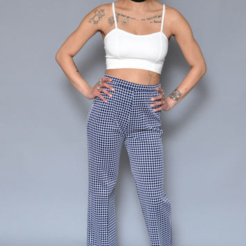 70s High Waisted Pants Checkered Bell Bottoms M Blue White Geometric Patterned Hippie Disco Wide Leg Pants Trousers