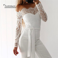 Fuedage Lace Up  Sexy Long  Jumpsuit Romper Women Off Shoulder  Sashes Floral Playsuit Summer Elegant V Neck White Lace Overall