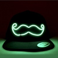 Mustache Light Up Snapback   EL Wire Light Up Hat   Rave Accessories