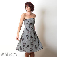 Floral print Dress in Floral Grey Red and Black Opera by Malam