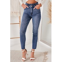 Minding My Business Skinny Paper Bag Jeans (Medium)