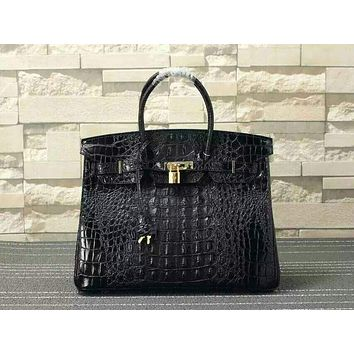 HERMES WOMEN'S CROCODILE LEATHER BIRKIN HANDBAG INCLINED SHOULDER BAG