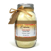 All Natural Vegan Laundry Soap in Mason Jar, Orange Laundry Soap, Natural Laundry Detergent, HE Washers