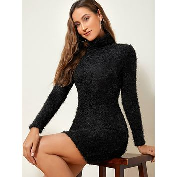 SHEIN High Neck Fuzzy Sweater Dress