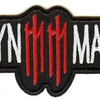 Marilyn Manson Iron-On Patch White Letters Red MM Logo
