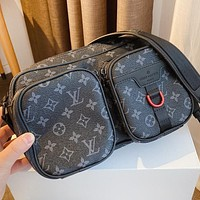 LV New fashion monogram print leather shoulder bag crossbody bag handbag Black