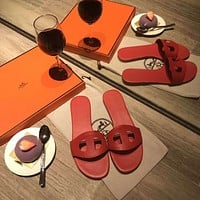 HERMES  Popular Summer Women's Flats Men Slipper LV Sandals Shoes