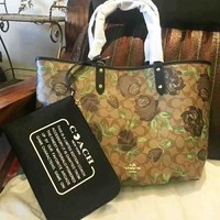 COACH Women Shopping Leather Tote Handbag Shoulder Bag Floral Rose Print Bag Set Two Piece B-LLBPFSH