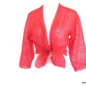 Orange Silk Mohair Tie Front Cardigan, Hand Crochet Hot Coral Shrug