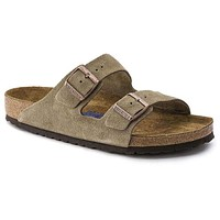 Women's Arizona Sandal in Taupe Suede Leather with Soft Footbed by Birkenstock