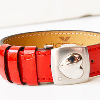 Valentine steel bracelet and red leather with heart