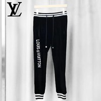 LV fashion hot selling men's and women's embroidered LOGO velvet sweatpants