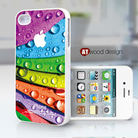 unisex iphone 4 cases iphone 4s case iphone 4 cover colorized leaves drop of water design