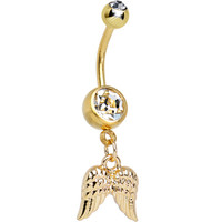 Clear Gem Gleaming Gold Plated Guardian Angel Wings Dangle Belly Ring   Body Candy Body Jewelry