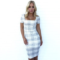 Frosted Plaid Midi Dress