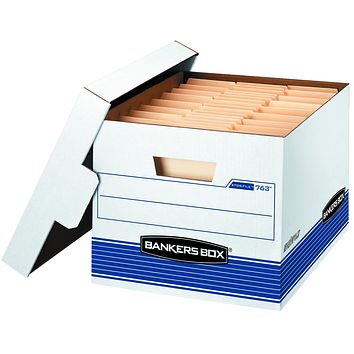 Bankers Box STOR/File Medium-Duty Storage Boxes, FastFold, Lift-Off Lid, Letter/Legal, Value Pack of 30 (0076316) 30-Pack