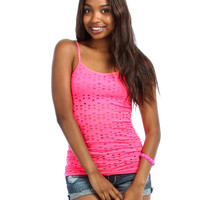 CORAL TANK TOP WITH FLOWER OPENINGS AND BUILT IN BRA