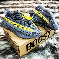 Off White x ADIDAS Yeezy Boost 350 V2 Fashion Woman Men Running Sport Sneakers Shoes Grey+Yellow