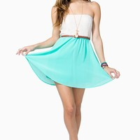 Lace Tube Belted Aline Dress