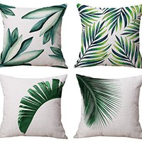 Modern Simple Green Summer Style Cotton & Linen Burlap Square Throw Pillow Covers, 18 x 18 Inches, Set of 4 (Green Leaves)