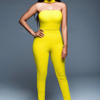 Yellow Strapless Zip-Back Jumpsuit