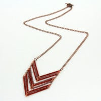Long Chevron Necklace with Antique Copper Chain, Red and Brown