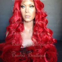 Poison Ivy Halloween Wig * Mermaid Rabbit Inspired Long Body Wave Red Wig w/ Baby Hairs * Mermaid Ariel Wig * Poison Ivy Wig * Costume Wig