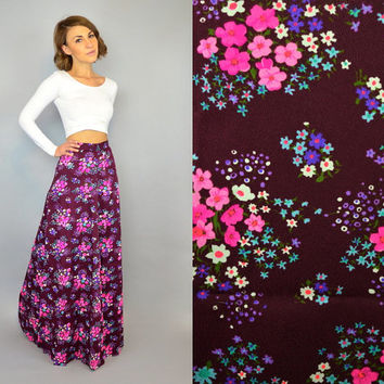 vtg 70's FLORAL CLUSTER high waist boho hippy supermodel MAXI skirt, extra small-small