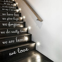 Wall Decal Vinyl Sticker Decals Art Decor Design Sign Quote Words Stairs Family Love Rules In this House Home Bedroom Dorm (r325)