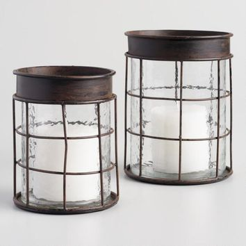 Hammered Glass Caged Hurricane Candleholder