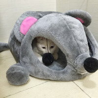 HOOPET Grey Mouse Shape Bed for Small Cats Dogs Cave Bed Removable Cushion,waterproof Bottom Pet House Gift for Pet #K