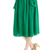 ModCloth Boho Long Midi Just Dandy Skirt in Green