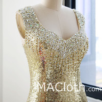 Mermaid Straps Sweetheart Long Sequin Gold Evening Prom Dress