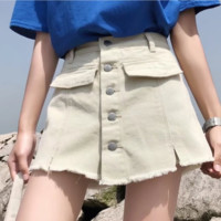 Summer high-waisted denim leggings with skinny jeans and fake a-line skirt denim shorts