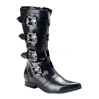 Brogue 107 Mens Black Pointy Toe Skull Buckle Dress Boot Goth 8-13