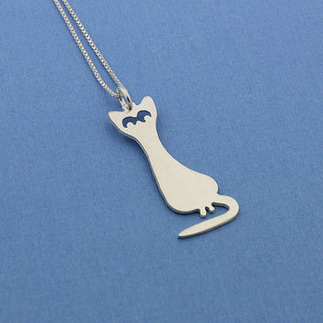 Funny cat sterling silver necklace Shiny Texture Finish pendant comes with italian box style chain choose your length 16 18 20 inch