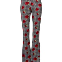 Houndstooth and Roses Flared Bell Bottom Pants