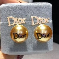 Dior fashion delicate pearl gold earrings ladies accessories
