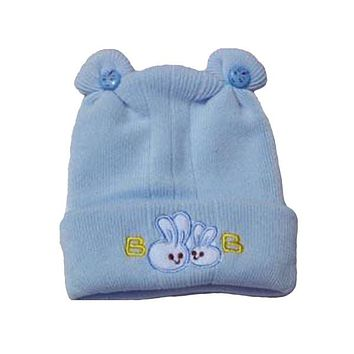 Adorable Blue Baby Hat with Cute Rabbit Design