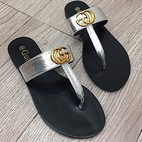 GG Double leather thong sandals shoes Silver