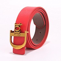 Samplefine2 DIOR Fashion Women Chic Metal Buckle Multicolor Leather Belt Red
