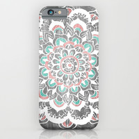 Pastel Floral Medallion on Faded Silver Wood iPhone & iPod Case by Tangerine-Tane