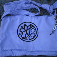 Hello Sweetie Gallefeyan River Song lilac cotton lap top messenger bag with purse charm