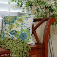 Teal Floral and Vine pillow