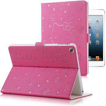 Hello Kitty PU Leather Soft Back Case For iPad 9.7 2017 2018 A1822 A1893 Transformer Smart Cover Funda Tablet Folding Case