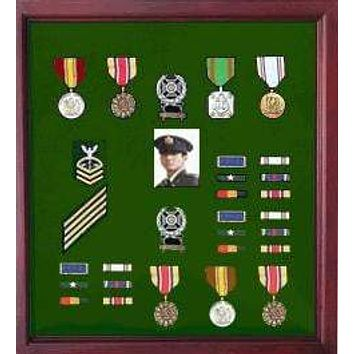 Medal Display Case Cherry Finish, The Medal display area is lined with rich black felt