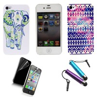 Highmall Cartoon Elephant+aztec Tribal Galaxy Hard Back Case Cover for Iphone 4 4s with One Free Screen Protector +Two Free Stylus -5 Pack